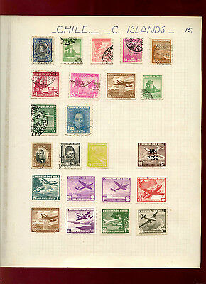 Chile Album Page Of Stamps #V4826