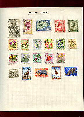 Belgian Congo  Album Page Of Stamps #V4802