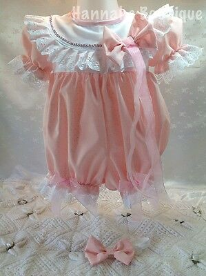 Hannahs Boutique 6-9Mth Baby Pink Spot Spanish Romper/bubble & Headband Set