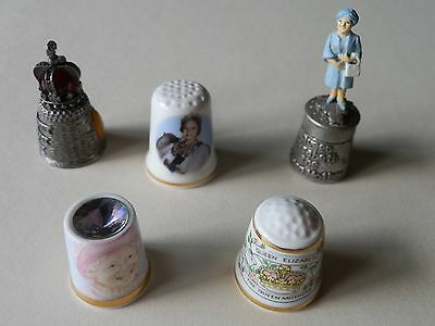 FIVE  - HM The Queen Elizabeth The Queen Mother Thimbles In Pewter & Ceramic