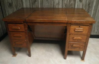 Antique Oak Finished Large Office Desk with Swivel Chair- Hidden Compartment