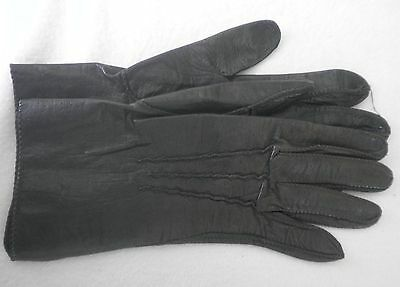 Ladies Brown Leather Unlined Gloves- Size 6 1/2- Minimal Wear