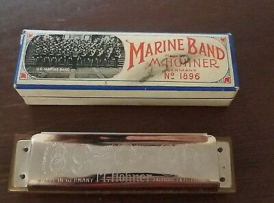 Hohner Marine Band Harmonica No. 1896 In Key Of G Ob - Vintage Free Shipping