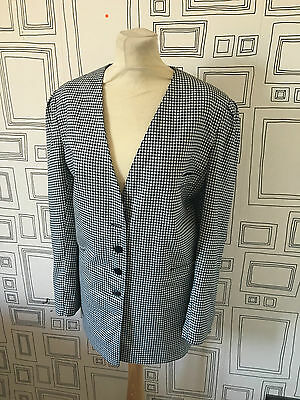 VINTAGE 80's NEW WAVE NAVY AND WHITE HOUNDSTOOTH BLAZER JACKET UK 18 LARGE