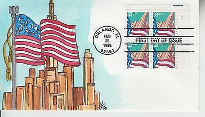 1999 #3278 FLAG AND CITY PLATE BLOCK FDC w M. FOX HAND PAINTED CACHET UA GEM!