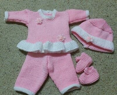 "4 Pce Hand Knitted Outfit In Pink & White To Fit Baby Born Size Dolls(16"" - 18"")"