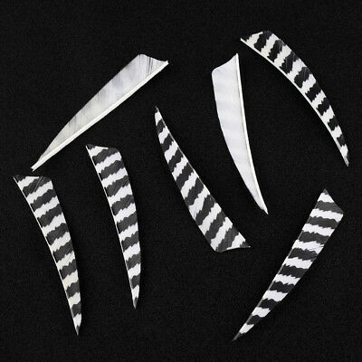 "50PCS 4"" striped Arrow Fletching Shield Shape Natural Turkey Feathers Handmade"