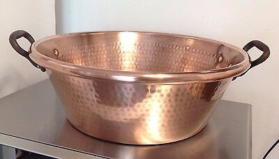 STUNNING LARGE VICTORIAN Copper Jam Making Pan Preserving Hammered Heavy 3.6KG