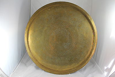 Vintage, Very Large Solid Brass Tray with Ancient Egyptian Engraving - 58cm Dia