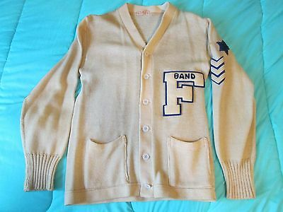 Vintage 50's 100% Wool Varsity Letterman's Sweater Ivory Color