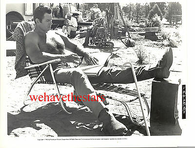 Vintage Clint Walker BEEFCAKE HAIRY CHEST '65 ON SET Candid Publicity Portrait
