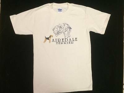 Airedale Terrier T-Shirt - Small - Beautifully Embroidered Free Shipping In Usa