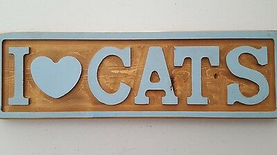 """""""I Love Cats""""  Wood Plaque with blue letters and trim"""