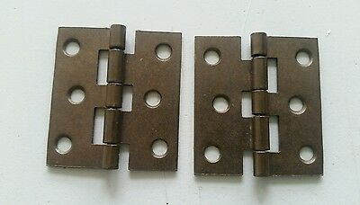 2 matching vintage brass plated 1 3/4 by 2 inch hinges