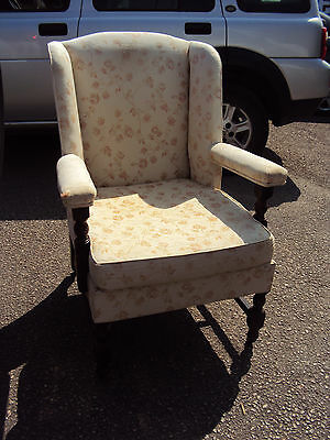 Vintage Antique Wingback Fireside Armchair, Sprung Seat