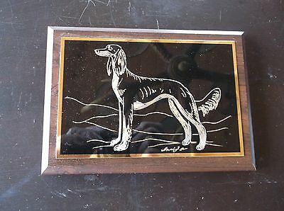 Saluki- New design Hand engraved Wall Plaque  by Ingrid Jonsson.