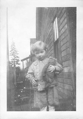 Black and White Vintage Snapshot Photograph Little Boy Teddy Bear Hold 1920's