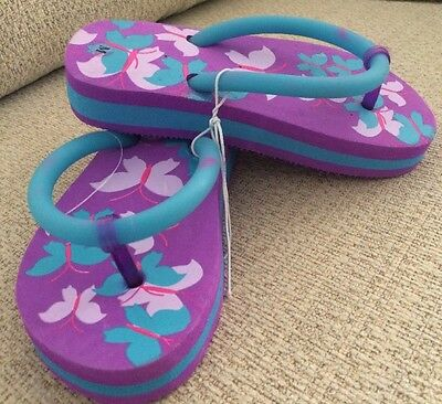 Girls Size Small Light-Up Butterfly Flip Flops Summer Beach Shoes Sandals NEW