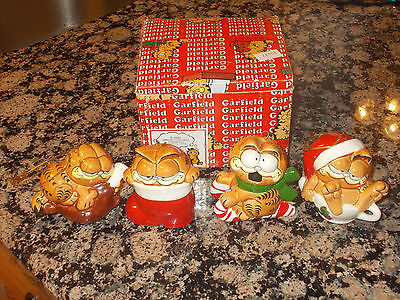 Lot 4 Vintage 1981 Enesco Garfield The Cat Ceramic Ornaments With Box
