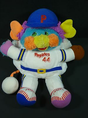 Vintage Popples Sports Baseball Player Stuffed Plush Toy 1980's