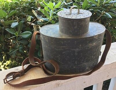 Antique Vintage French Kidney Shaped Galvanized Zinc Fishing Creel Bait Bucket