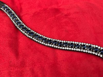 """Equipride """" Ruby"""" Bling Sparkly Diamante Browband Dressage Bridle Blue / Clear"""
