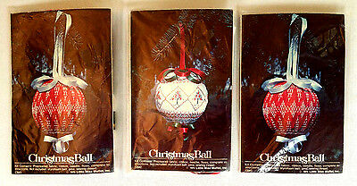 "NEW Vintage 1978 Lot of 3 Christmas Ball Ornament Craft Kit Project 3"" FREE SHIP"