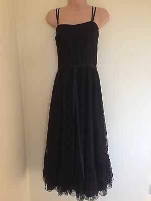 Ladies Black Lace Lined Strappy Dress Size10-12 calf length party evening