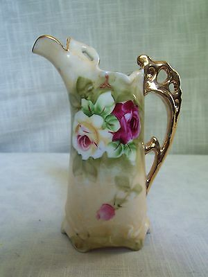 Antique Rose Porcelain Ewer Pitcher Gold Trim Hand Painted