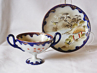 Early 20thC Japanese Porcelain Kutani 2 Handled Footed Cup & Saucer Signed