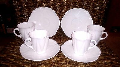 4 Shelley Dainty Fine Bone China White Coffee Cups & Matching Saucers. Beautiful