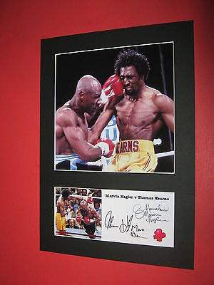 Marvin Hagler Thomas Hearns Boxing A4 Photo Mount Signed Printed Autographs