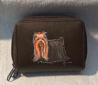 Leather credit card holder with hand painted Yorkie, Yorkshire terrier