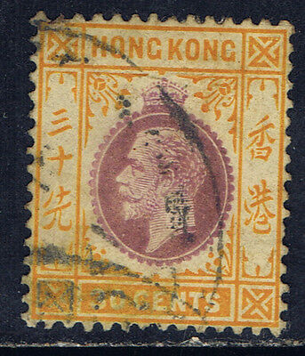 Hong Kong #118(1) 1912 30 cent orange & violet George V Used CV$9.00