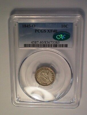 1845 O Seated Liberty Dime Pcgs Xf 40 Cac