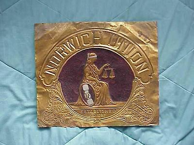 NORWICH UNION Pressed Brass Lobby Sign England Fire Insurance 1890s Lady Justice