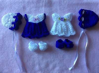 hand knitted dolls clothes to fit 5-6 inch doll 2 sets,