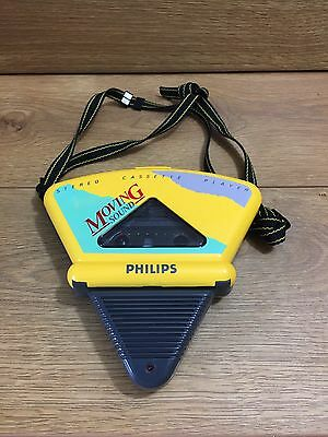 Vintage Rare PHILIPS CASSETTE PLAYER Moving Sound D6608/30 Yellow Retro Funky