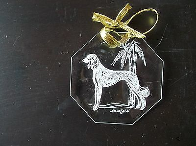 Saluki- Delicately Hand Engraved bevelled glass Ornament by Ingrid Jonsson