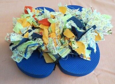 5d3936feb06a3 FLIP-FLOPS/SANDALS~WOMEN'S/GIRLS~FUN/COLORFUL/CRAZY/RAG-TIED~SIZE 9-10