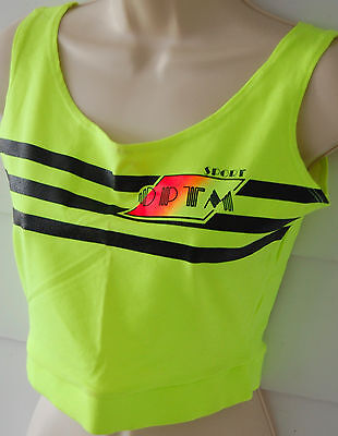 Vintage Womens Workout Crop Top Singlet Large 80s Neon Yellow Running Hip Hop L
