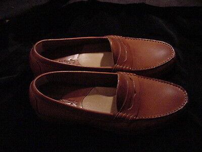 JOHNSTON & MURPY Tan Soft Leather Men's Casual Penny Loafers Size 10M - Italy