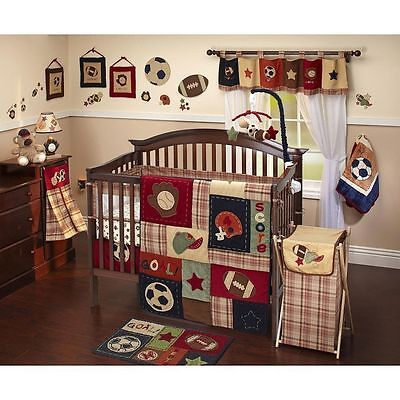NoJo Infant My Little MVP Baby Boy Crib Bed Skirt Sports Football Baseball EUC