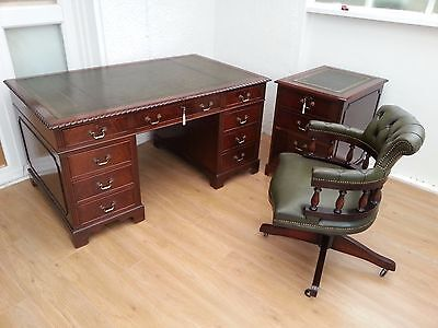 5x3 ft ANTIQUE STYLE GREEN LEATHER TOP DESK + CAPTAINS CHAIR