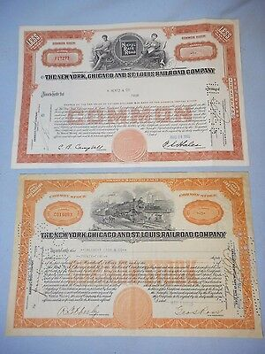 1928 & 1956 The New York Chicago & St. Louis Railroad Company Stock Certificates