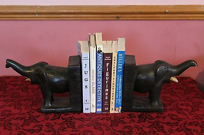 A Pair Of Wooden Elephant Bookends (Books Not Included)