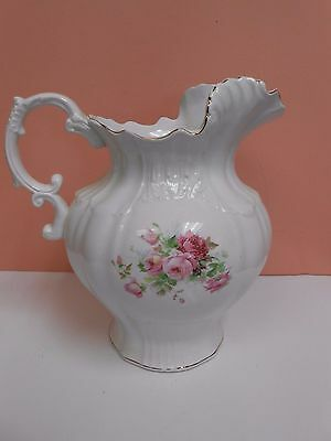 """Antique Vintage Porcelain Pitcher Pink Roses Marked LOI ?? 10"""" tall to Rim"""
