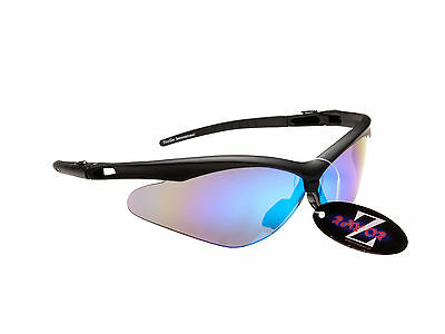 RayZor Uv400 Hiking Sport Wrap Sunglasses Black Framed Blue Mirrored Lens RRP£49