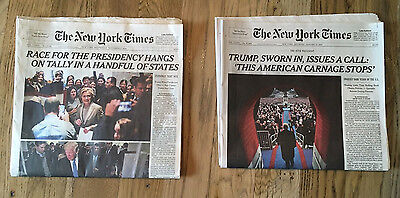 2 New York Times NY Times 11-9-16 and 1-21-17 Donald Trump President Sworn in