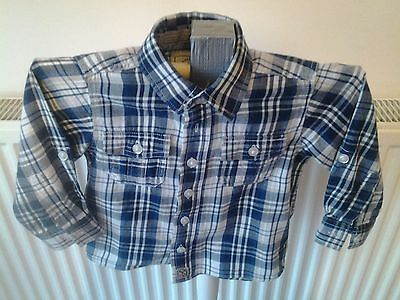 Boys - Blue/white Checked Shirt - Age 6-9 Months